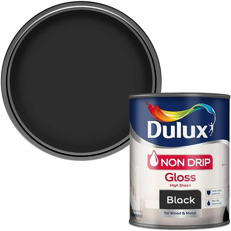 Dulux Retail Non Drip Gloss Paint - Black - 750ml and 2.5 Litres