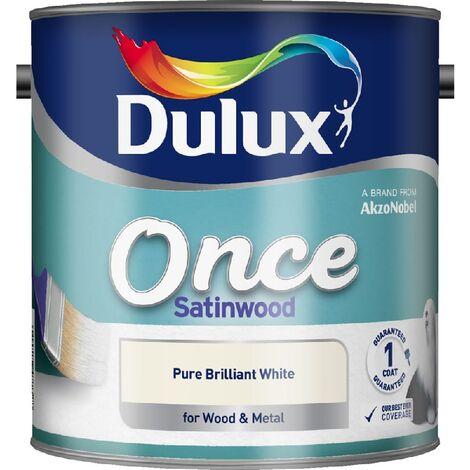 Dulux Retail Once Satinwood Paint Pure Brilliant White 2.5L / 750ml