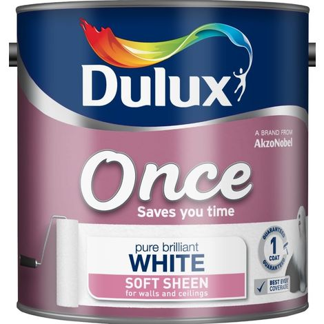 Dulux Retail Once Soft Sheen - Pure Brilliant White - 2.5 Litres
