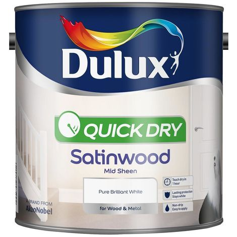 Dulux Retail Quick Dry Satinwood Pure Brilliant White 750 ml / 2.5 Litres