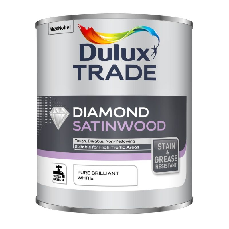 Image of Dulux Trade Diamond Satinwood - Pure Brilliant White - 5 Litres - DULUX VALENTINE