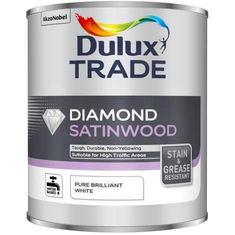 Dulux Trade Diamond Satinwood - Pure Brilliant White - 1L / 2.5L / 5 Litres