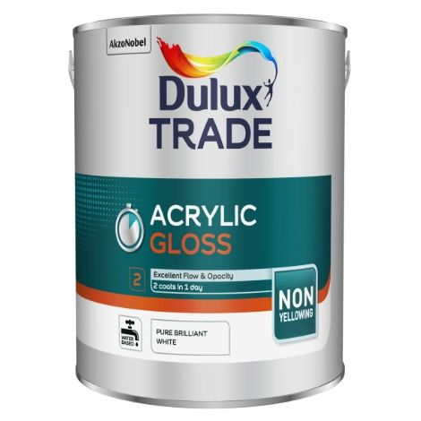 Dulux Trade Ecosure/Acrylic Gloss Pure Brilliant White (select size)