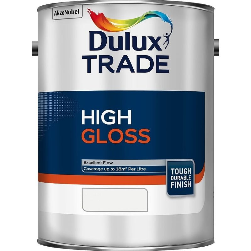 Image of Dulux Trade High Gloss Pure - Brilliant White - 5 Litres - DULUX VALENTINE