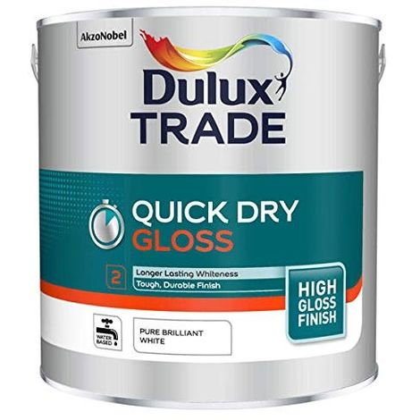 Dulux Trade Quick Dry Gloss - Water Based Paint - Pure Brilliant White