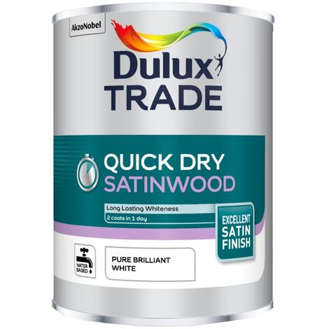 Dulux Trade Quick Dry Satinwood - Pure Brilliant White - 1L / 2.5L / 5 Litres