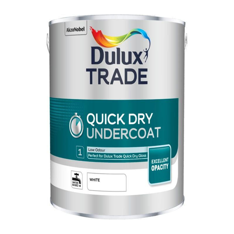 Image of Dulux Trade Quick Dry Undercoat - White - 5 Litres - DULUX VALENTINE