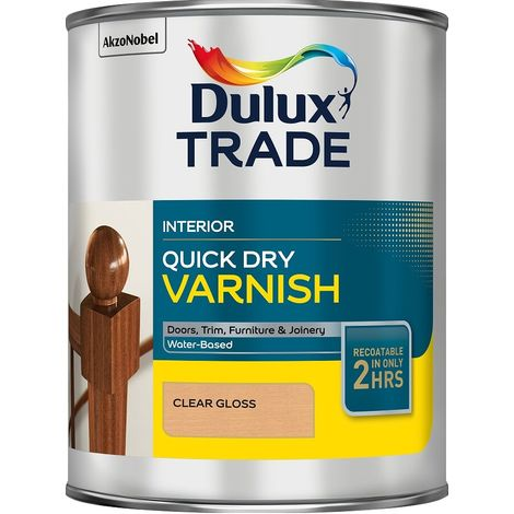 Dulux Trade Quick Dry Varnish Clear (select finish and size)