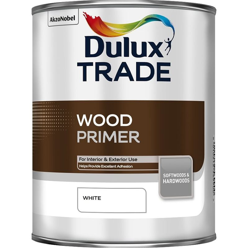 Image of Dulux Trade Wood Primer White 1L - DULUX VALENTINE