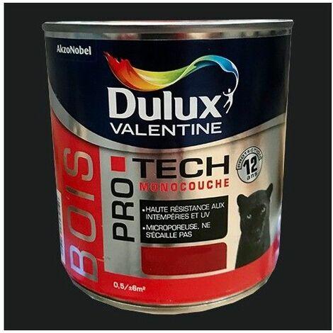 DULUX VALENTINE Peinture Bois PRO TECH Noir - 0,5 L