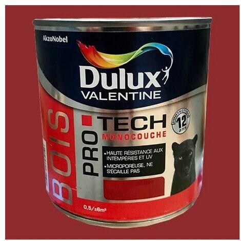 DULUX VALENTINE Peinture Bois PRO TECH Rouge piment 0,5 L - Rouge piment