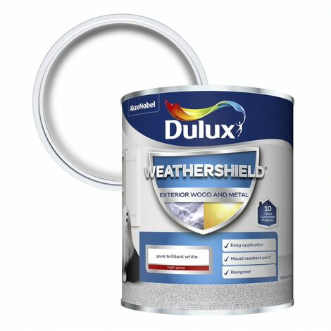 Dulux Weathershield Exterior Gloss Pure Brilliant White 2.5L / 750ml