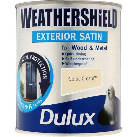 Dulux Weathershield Exterior Satin 750ml Celtic Cream