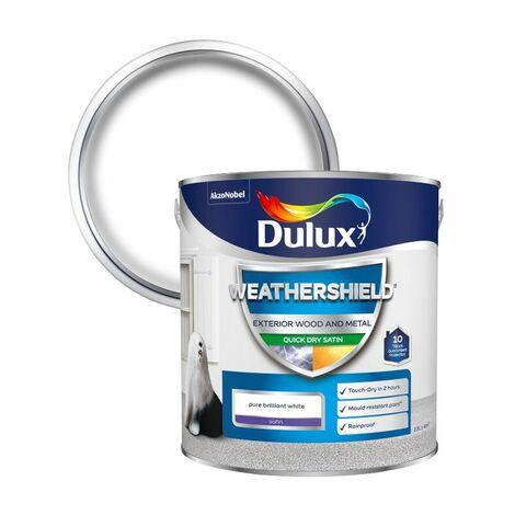 Dulux Weathershield Exterior Satin Pure Brilliant White Paint Size 750ml / 2.5L
