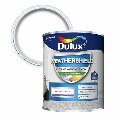 Dulux Weathershield Exterior Satin Pure Brilliant White Paint Size 750ml / 2.5L