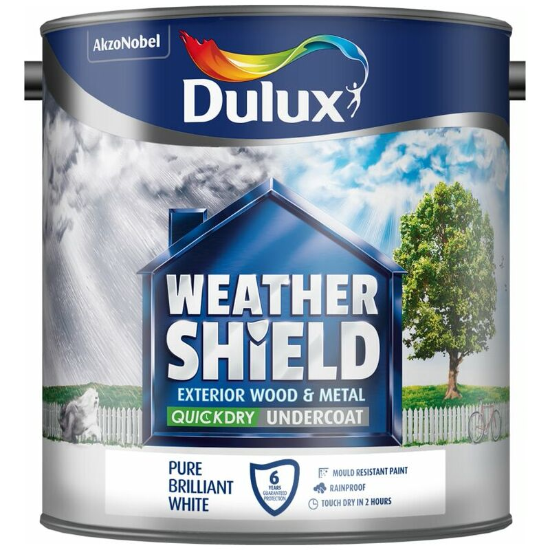Image of Dulux Weathershield Exterior Undercoat Pure Brilliant White 2.5L