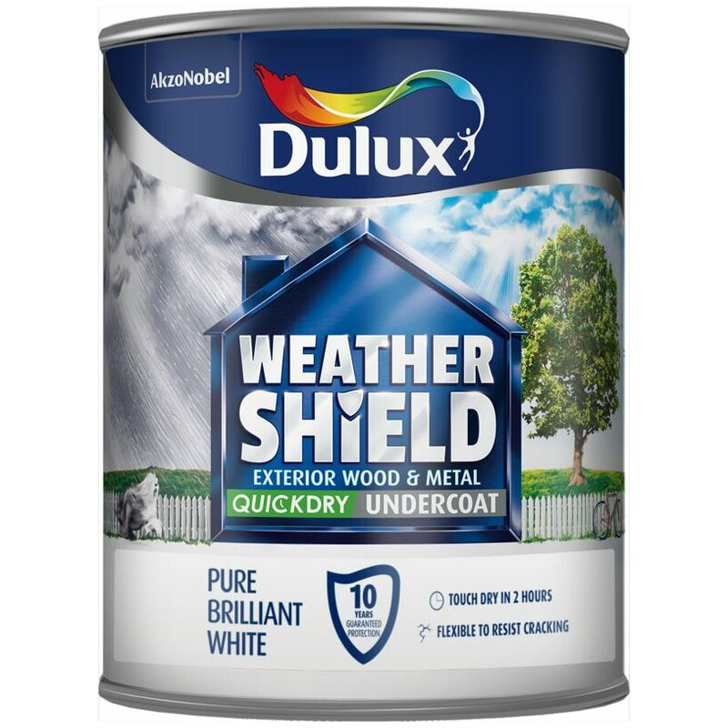 Image of Dulux Weathershield Exterior Undercoat Pure Brilliant White 750ml