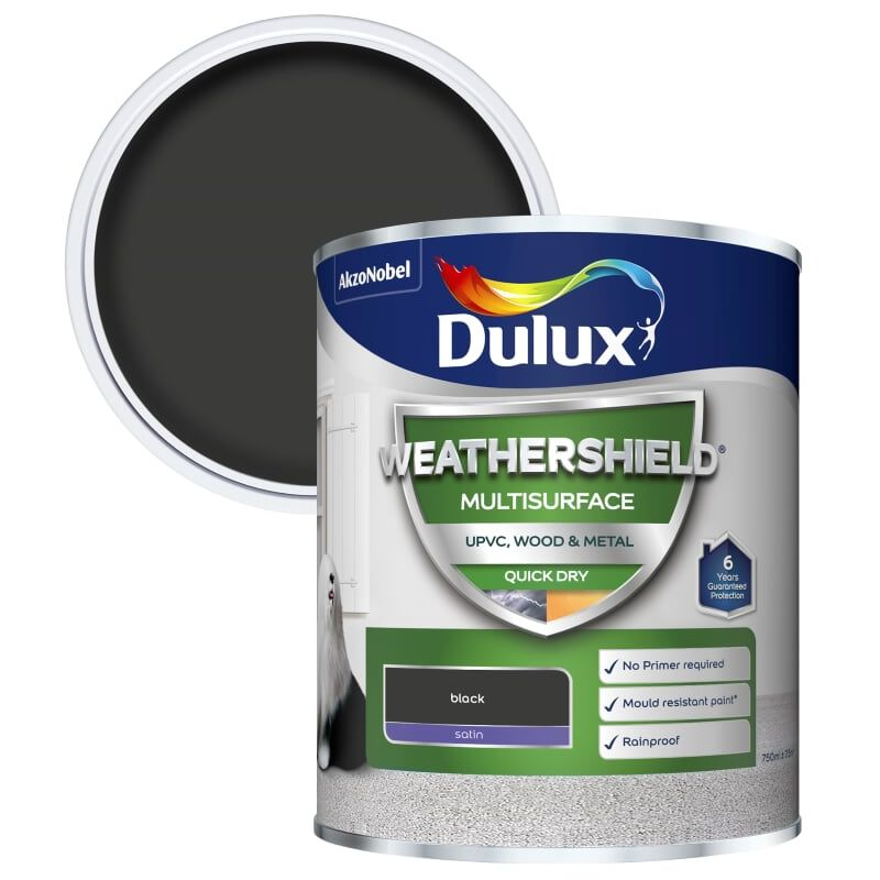 Image of Dulux Weathershield Multi Surface Paint - Black - 2.5L
