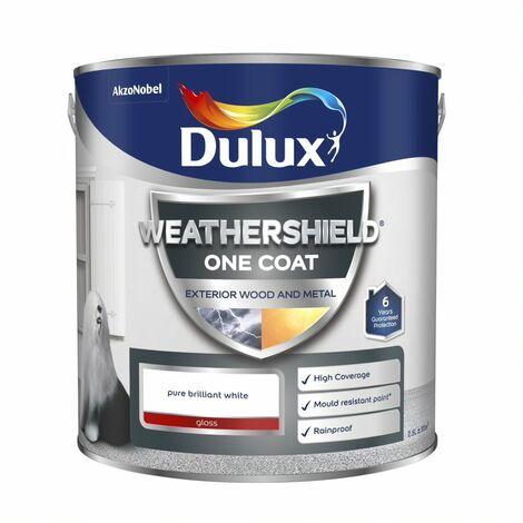 Dulux Weathershield One Coat Exterior Gloss Pure Brilliant White 750ml / 2.5L