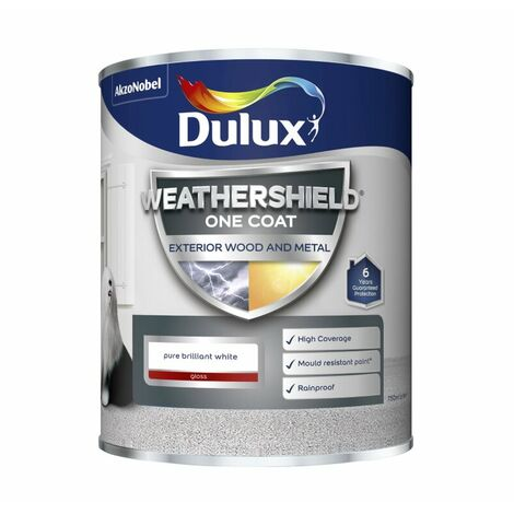 Dulux Weathershield One Coat Exterior Gloss Pure Brilliant White 750ml / 2.5L