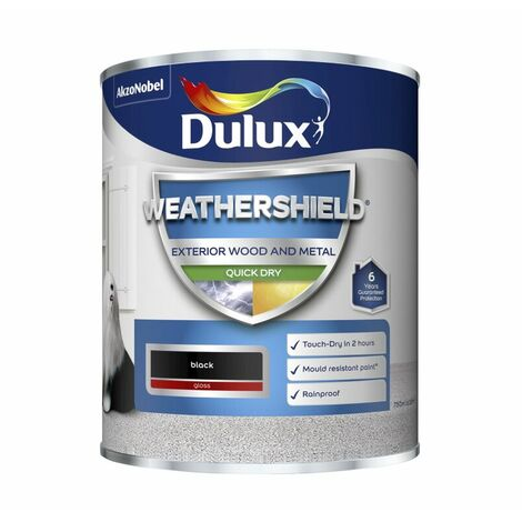 Dulux Weathershield Quick Dry Gloss Black & Pure Brilliant White 750ml / 2.5L
