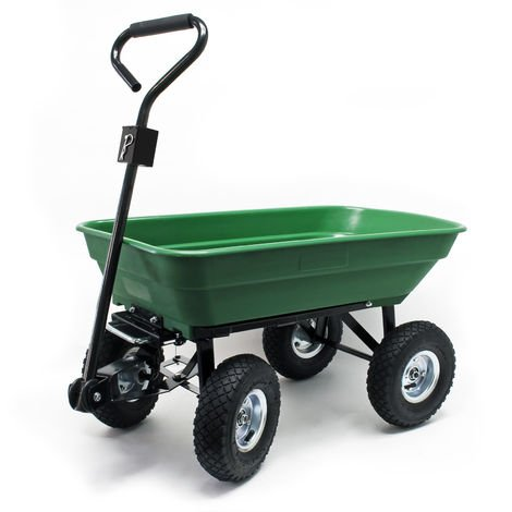 Dump Cart, Capacity 125l, max. load 350kg, Garden Trolley Tipper Trailer Wheelbarrow