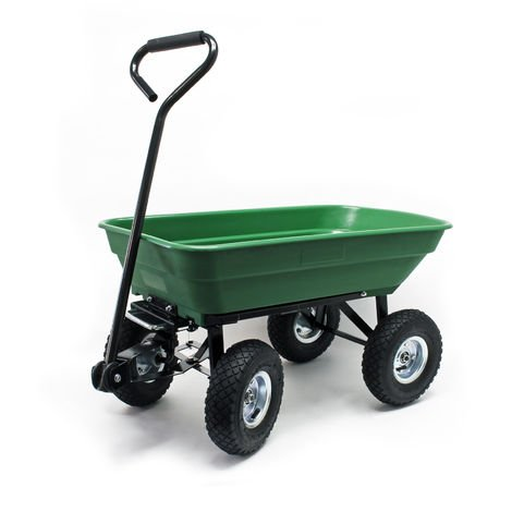 Dump Cart, Capacity 75l, max. load 300kg, Garden Trolley Tipper Trailer Wheelbarrow