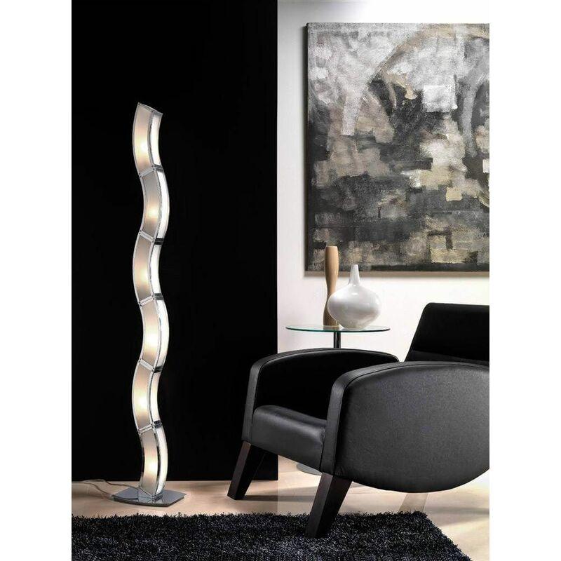 Image of 09-diyas - Duna GU10 6-Light L1 / SGU10 Floor Lamp, Polished Chrome / White Arylic