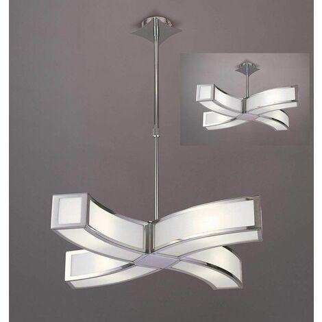 Duna GU10 pendant lamp 4 Bulbs L1 / SGU10 Curved, polished chrome / white arylic