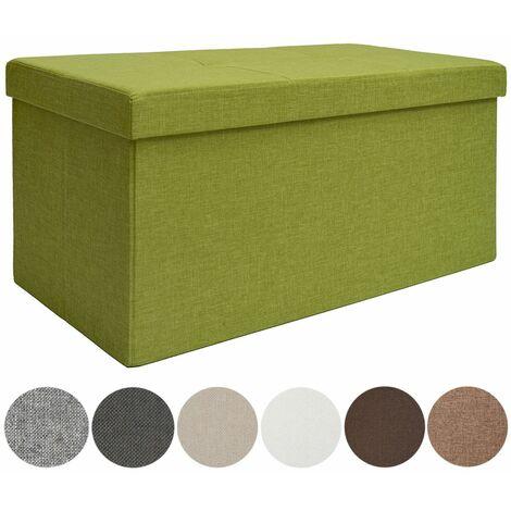 DuneDesig Arcón de almacenaje 80L con Banco 76x38x38cm plegable Verde Claro