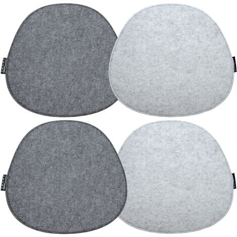 "main image of ""DuneDesign 4 Cuscini Ovali di Feltro per Sedie 40x37x0,8 cm fine bicolore Grigio"""