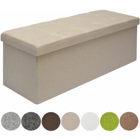 DuneDesign Otomana XXL Banca plegable 110x38x38cm incl 2 paredes divisorias 120L pie de cama rectangular sofá forrado con tela 3 plazas Beige