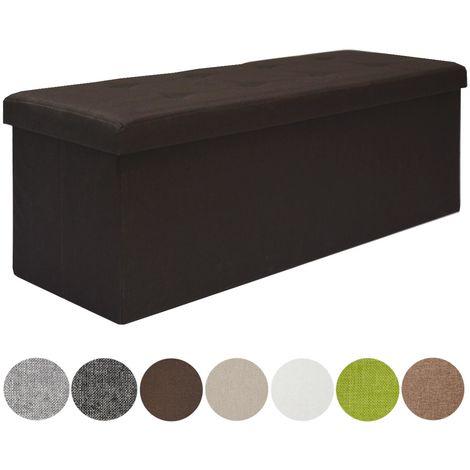 DuneDesign Otomana XXL Banca plegable 110x38x38cm incl 2 paredes divisorias 120L pie de cama rectangular sofá forrado con tela 3 plazas Marrón Oscuro