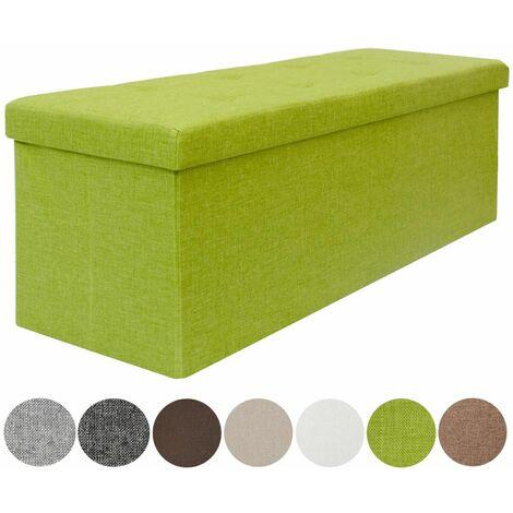 DuneDesign Otomana XXL Banca plegable 110x38x38cm incl 2 paredes divisorias 120L pie de cama rectangular sofá forrado con tela 3 plazas Verde Limón