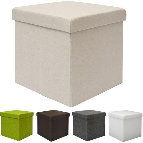 """main image of """"DuneDesign Poggiapiedi a cubo 38cm apribile contenitore Sgabello quadrato imbottito pieghevole Pouf con vano per riporre oggetti contiene 42L Beige"""""""