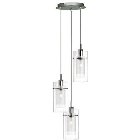 Duo 1 Chrome 3 Light Multi-drop Pendant With Double Glass Cylinder Shades