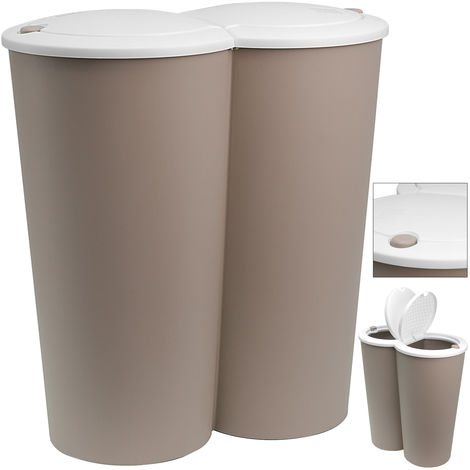 Waste Bin with Flip Top Plastic Swing Bin for Kitchen Brown, 25L