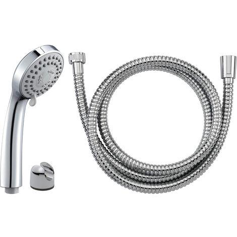 DUO: cabezal de ducha NF 3 chorros cr. KEA + lat. NF acero inoxidable DA cromado longitud 1.50 m + apli. ABS