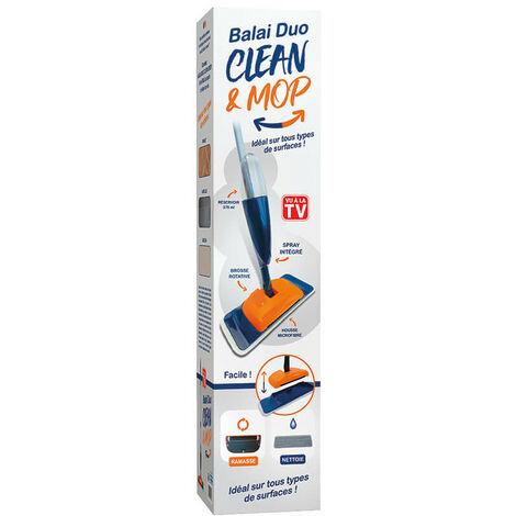 Duo Mop Cleaner - Balai brosse avec une tête rectangulaire et articulée - Manche en alu, léger et maniable