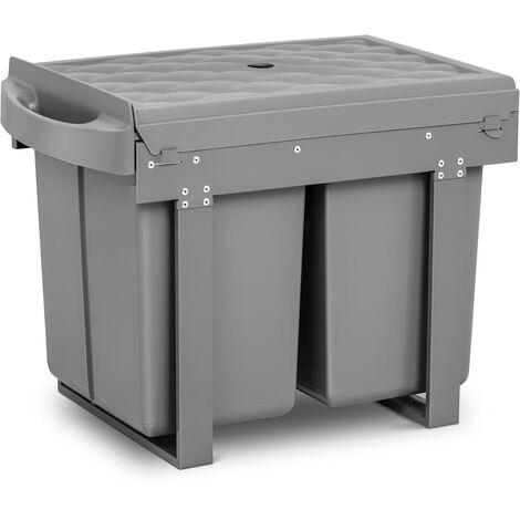 Duo Mülleimer einbaubar Einbau Abfalleimer Einbaumülleimer Küche 2 x 20 L
