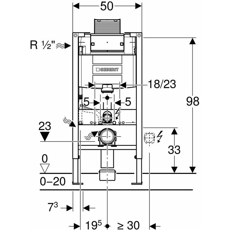 Duofix WC-Element von Geberit, 98 cm, mit OMEGA Unterputz-Spülkasten ...