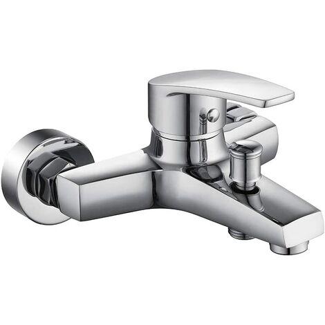 Durable Brass Bathtub Faucet Bathroom Shower Mixer Chrome Copper Surface Wall Mount Pure Design Dismountable Aerator