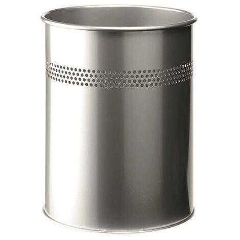 Durable Metal Waste Bin 15 Ltr Silver - AL17391