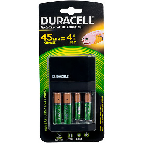 Duracell 5000394001459 Battery Charger with 2 AA & 2 AAA Batteries (CEF14)
