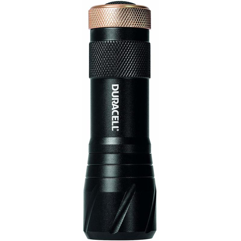 Image of Duracell Flashlight, Tough COMPACT Series Torch, Bright 75 Lumen LED Light, Black Aluminium Finish, Duracell Batteries Included (Pack of 1) (CMP-9)