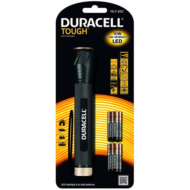 SUPER BRIGHT DURACELL TOUGH PERSONAL SERIES TORCH WITH FREE BATTERY Free P/&P