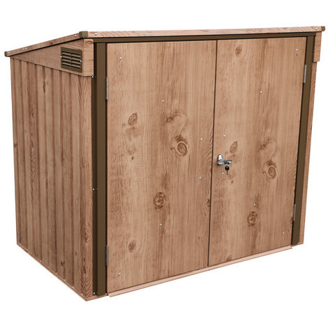 Duramax CUBRE CUBOS caseta metálica 150 x 90cm para guardar cubos diseño imitación madera