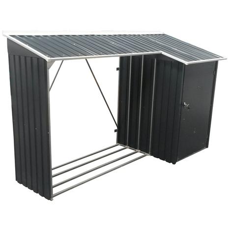 Duramax - Leñero Combo de acero galvanizado (108 x 272 x 160 cm, superficie 4.36 m2)