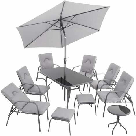Durango Chair and Dining Set with Parasol - grey