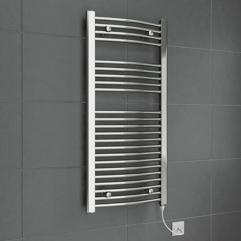DuraTherm Electric Curved Chrome Towel Radiator 1100x500mm 250W